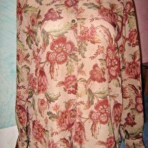 Tan Rust Green Floral Print Sheer Button Shirt 14